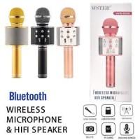 GET CASHBACK MIC WSTER WS 858 Wireless Bluetooth Karaoke + Speaker