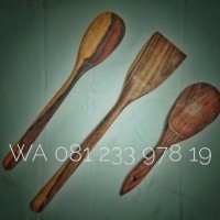 PAKET isi 3, Spatula Kayu, centong nasi, sendok nasi kayu, Alat Dapur