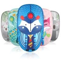 Terbaik V8 Mouse Wireless Bluetooth Motif Print Hewan untuk Laptop /