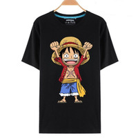 Kaos Baju Obral Combed 30 Distro Monkey D Luffy Chibi Polos Anime One