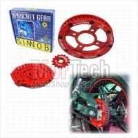 Sinnob Gir Gear Set dan Rantai Motor Colour Chain CB150R NEW Merah