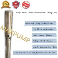 """Pompa Air Satelit 7.5Hp Submersible Pump Sumur Dalam 6"""" kipas stenlis"""