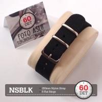 Nato Strap Tali Jam Tangan Nylon Canvas Kain 12mm 14mm 16mm NSBLK