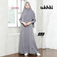 Ukhti Gamis UG 27 Abu Limited Edition Premium Busui Syar'i Motif Kotak
