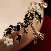 Gelang Perhiasan Bracelet Jewelry Paris Eiffel Star Tali Kulit Import