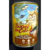 MAKANAN KUCING SUPER CAT TUNA WITH CHICKEN & VEGETABLE 400GR