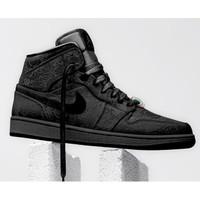 Sepatu Nike Air Jordan 1 Mid Fearless x Clot Black Premium Original