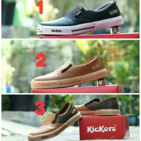 Sepatu Kickers MX One Slip On Casual Santai Formal Pria Coklat Tan