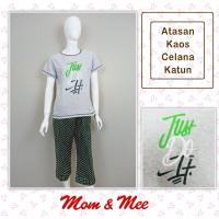 Piyama / Baju Tidur Dewasa JUST DO IT Hijau Celana Katun 7/8