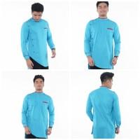 Baju Koko Kurta Premium Murah / Baju Muslim Pria Modern Korea style - Biru Muda, M