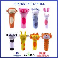 Boneka Rattle Stick Mainan Gigitan Hewan Lucu Genggam Tangan Bayi Anak