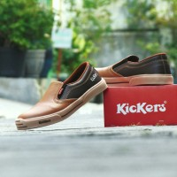 Sepatu Kickers MX One Slip On Casual Kerja Formal Pria Tan Coklat Tua