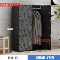 Lemari & Kabinet -) Multica Lemari Plastik Full Black Rak Baju Pakaian