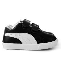 Sepatu sneakers Anak unisex bahan sintetis perekat hitam