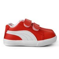 Sepatu sneakers Anak unisex bahan sintetis perekat merah