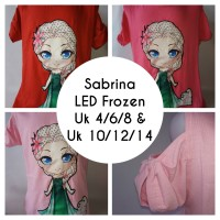 Kaos Sabrina Anak Pendek Import LED Frozen Gosyen