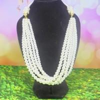 Kalung Wanita Mutiara 5 Layer Warna Putih Panjang