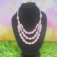 Kalung Wanita Mutiara 3 Layer Warna Pink