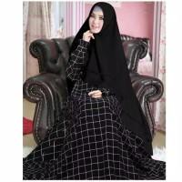 MA Baju gamis wanita motif kotak grid hitam katun jepang 1kg=4pc [02]