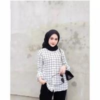 Baju wanita kemeja dhiya andara motif kotak putih grid by MA