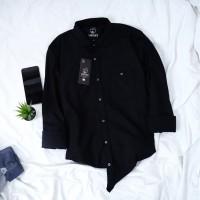Babedo Kemeja Hitam Polos Pria Lengan Panjang Casual Premium