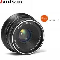 Lensa 7artisans 25mm F1.8 For Fuji - Hitam Lens Wide Lensa BONUS