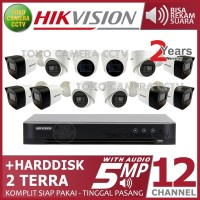 PAKET CCTV HIKVISION 5MP 16 CHANNEL 12CAMERA AUDIO HDD 2TB