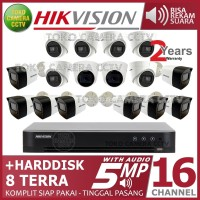 PAKET CCTV HIKVISION 5MP 16 CHANNEL AUDIO HDD 8TB
