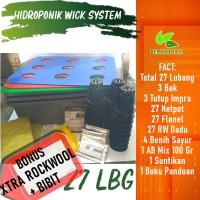 Hidroponik Sistem Wick Pemula 27 Lubang Bonus Bibit dan Rockwool
