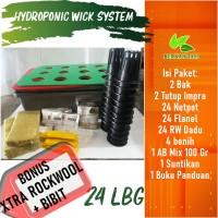 Hidroponik Sistem Wick Pemula 24 Lubang Bonus Bibit dan Rockwool