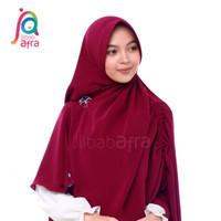 Jilbab Arfa Khimar Instan Serut Pet Antem Khansa Ruby Merah Marun M L