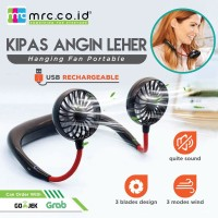 Kipas Angin Gantung Leher Hanging Neck Fan Portable Rechargeable