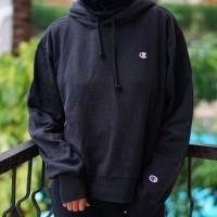 ORIGINAL Champion hoodie jaket reverse wave black Script not stussy