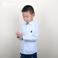 MOOSCA KIDS Stripes Shirt Kemeja Lengan Panjang Biru