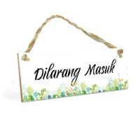 Hiasan Pintu Kamar DILARANG MASUK MDF 10x30cm Poster Art Shabby Chic