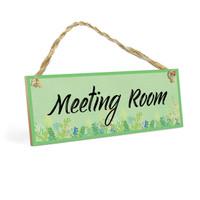 Dekorasi Kantor MEETING ROOM MDF 10x20cm Poster Kayu Hiasan Dinding