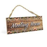 Dekorasi Kantor MEETING ROOM MDF 10x20cm Poster Kayu Walldecor Shabby