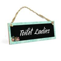 Gantungan Kamar Mandi Wanita TOILET LADIES MDF 10x30cm Wall Home Decor