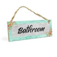 Gantungan Pintu Kamar Mandi BATHROOM MDF 10x30cm Hiasan Dinding Shabby