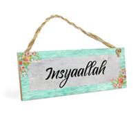 Gantungan Pintu Islami INSYAALLAH MDF 10x30cm Poster Art Hiasan Kayu