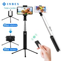 INBEX 3in1 Selfie Stick Tripod Bluetooth Extendable 360 shutter remote