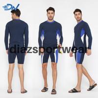 Pakaian renang pria jumbo baju renang dewasa dan celana renang cowo - Biru, S