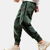 Mens Corduroy Side Stripe Patchwork Ankle Banded Jogger Pants