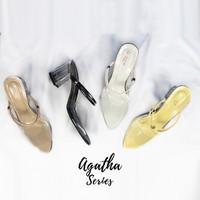 Agatha by Quince - sepatu heels wanita hak kaca 7cm - Kuning, 36