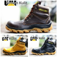 sepatu caterpillar safety ujung besi boots tracking lapangan proyek