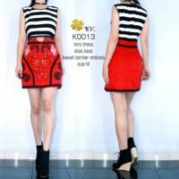 YKdress 0013 minidress mini dress premium stripe garis rok merah