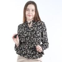 Ada Fashion Blouse Peplum Ruffle Longsleeve Motif