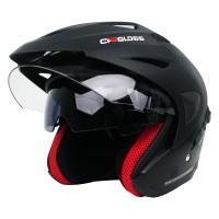 Helm Cargloss CDV CR Helm Half Face Double Visor - Deep Black SG