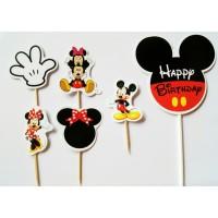 topper toper hiasan kue ulang tahun hbd karakter mickey minnie mouse