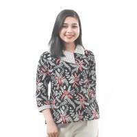 Atasan Blouse Batik Wanita Motif Blarak Merah Resleting Belakang S-5L